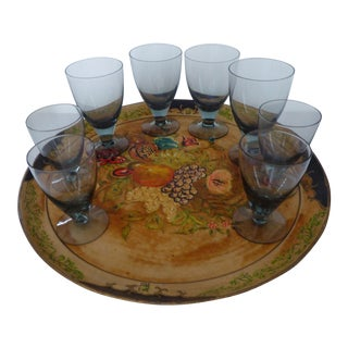 Hand Painted Tray & Crystal Liqueur Glasses-Set of 9
