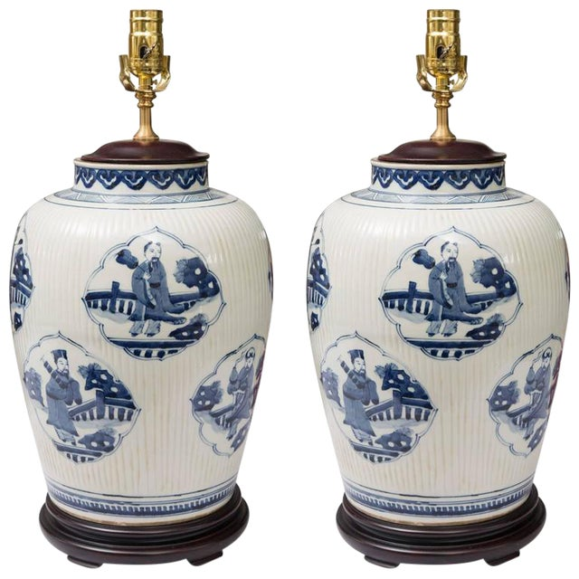 Pair of Chinese Blue and White Lamps - Image 1 of 7
