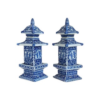 Chinese Blue & White Pagoda Jars - A Pair