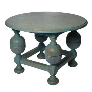 Painted Turquoise Table With Gold Glaze