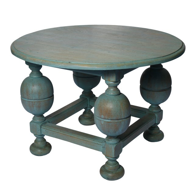 Painted Turquoise Table With Gold Glaze - Image 1 of 9