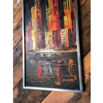 Image of Mid-Century Vintage Cityscape Oil Painting