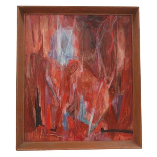 Mid-Century Red Abstract Oil Painting