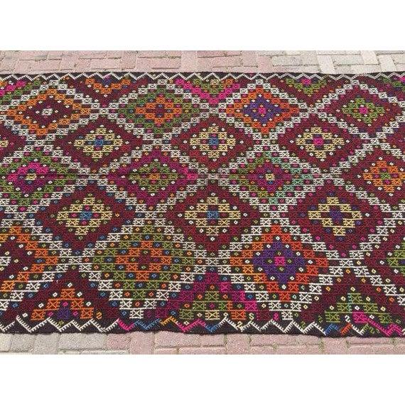"Vintage Handwoven Turkish Kilim Rug - 5'4"" x 9'9"" - Image 4 of 6"
