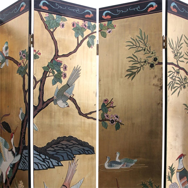 Mid 20th Century Chinese Folding Screen - Image 2 of 6