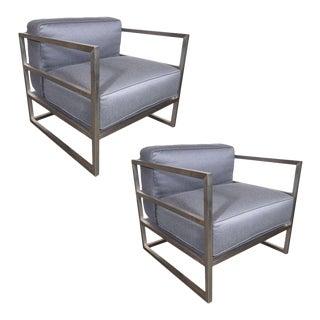 Pair of Modernist Brushed Aluminium Club Chairs in Platinum Sharkskin