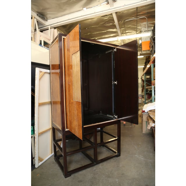 Tall Asian Modern Burl Wood Armoire - Image 5 of 6