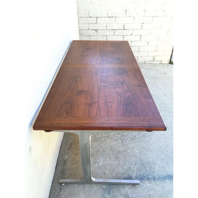 Mid-Century Industrial Metal & Walnut Desk - Image 5 of 11