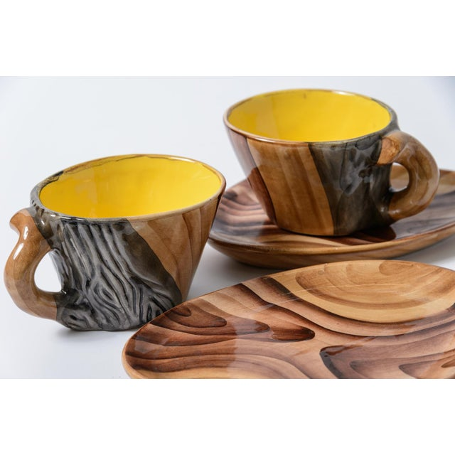 """French Vallauris Faux Bois """"Tete a Tete"""" Coffee Set - Image 10 of 10"""