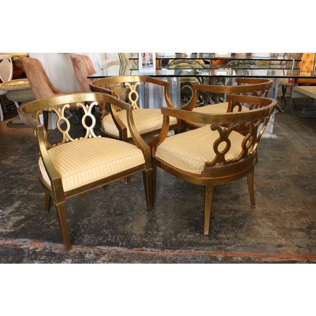 Regency Gold Leaf Barrel Chairs - Set of 4 - Image 3 of 8