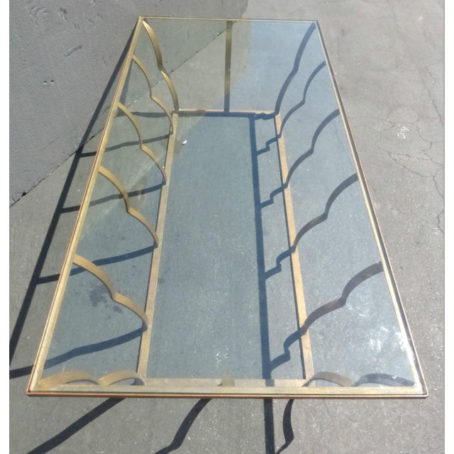 Image of Vintage Gilt Wrought Iron Coffee Table W Glass Top