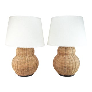 Wicker Pear-Shaped Lamps, Pair