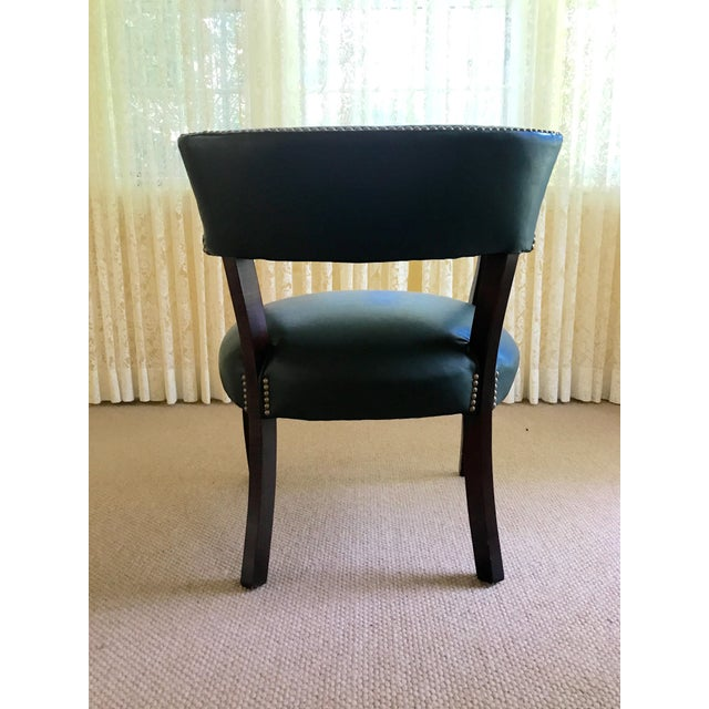 Mid Century Studded Green Leather Library Club Chair - Image 5 of 8