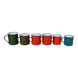 Vintage Enamel Ware Cups- Set of 6