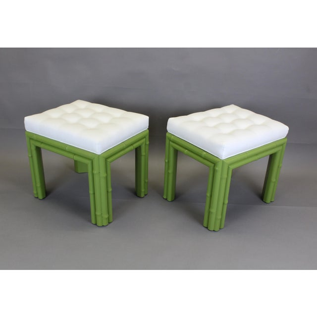 Pair of Faux Bamboo Green Benchches - Image 8 of 11