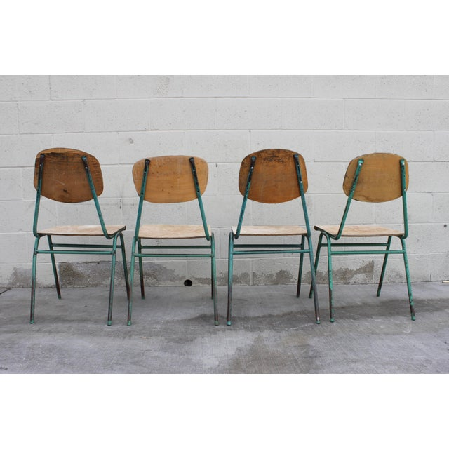 Vintage French Stacking Steel, Bentwood and Leather Schoolhouse Dining Chairs - Set of 4 - Image 10 of 11