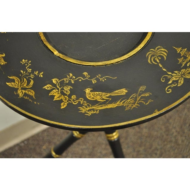 Antique Victorian English Decorated Faux Bamboo Tripod Occasional Side Table - Image 7 of 11