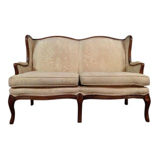 Vintage Carved Walnut Upholstered Wingback Loveseat
