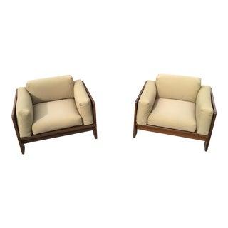 Knoll Scarpa Army Green Club Chairs - a Pair