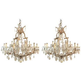 Antique Venetian Twentyone Light Chandeliers - A Pair