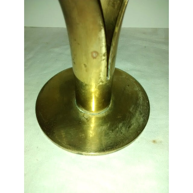 Image of Mid-Century Brass Lily Candleholders - A Pair