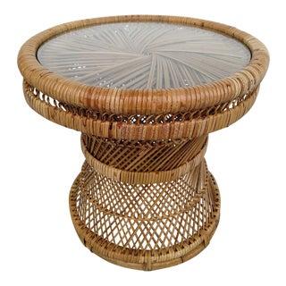 Vintage Woven Rattan Side Table