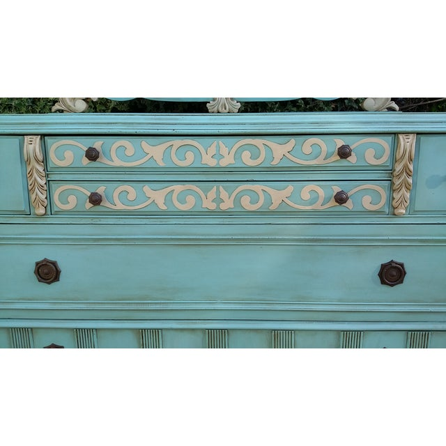Hand-Painted Depression Era Dresser with Mirror - Image 10 of 10