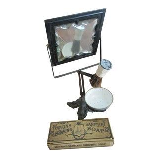 Victorian Era Cast Iron Shaving Mirror, Brush & Antique Soap Box Set