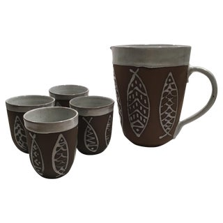 Ceramic Pottery Fish Set - 1 Pitcher and 4 Cups