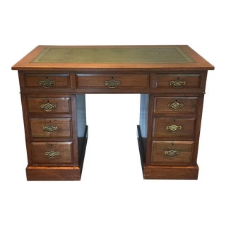 English Traditional Green Leather & Walnut Desk