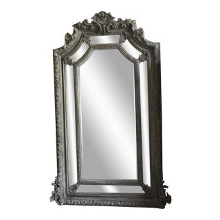 Grey Acanthus Leaf Oversized Floor Mirror