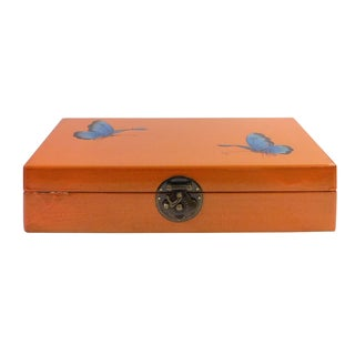 Chinese Orange Rectangular Butterflies Box