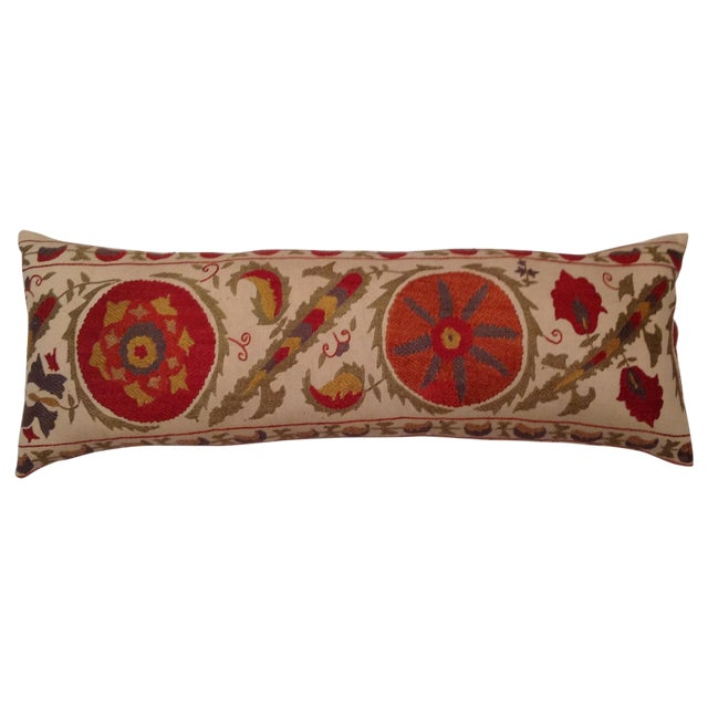 Red & Tan Silk Embrodery Suzani Pillow - Image 1 of 10