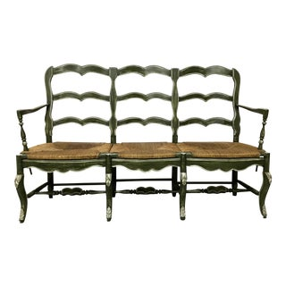 Green Painted Triple Rush Seat Bench