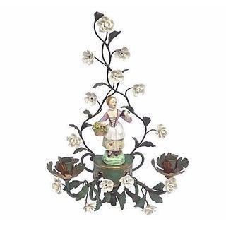 Antique Tole & Porcelain Floral Candle Sconce