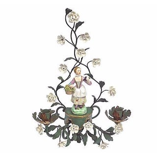 Antique Tole & Porcelain Floral Candle Sconce