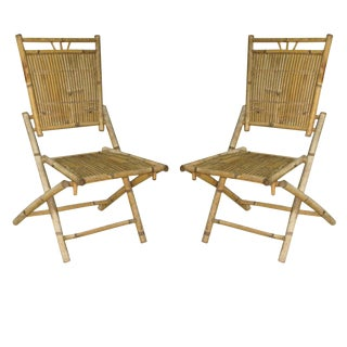 Pair of French 30's Bamboo and Rattan Chairs