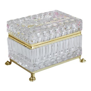 Large Vintage Footed Cut Crystal Box