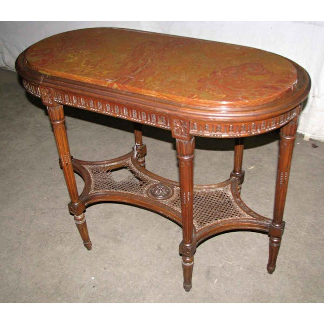 Engraved Limestone Inlay : Antique carved marble top wood table chairish