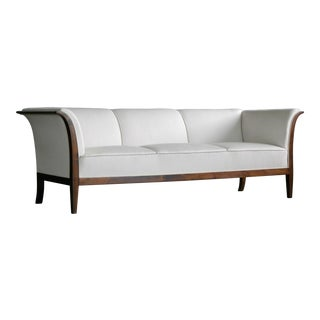 Classic Frits Henningsen Sofa in Mahogany and Wool, Denmark, 1940s