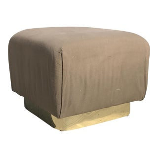 Karl Springer Brass Plinth Base Ottoman