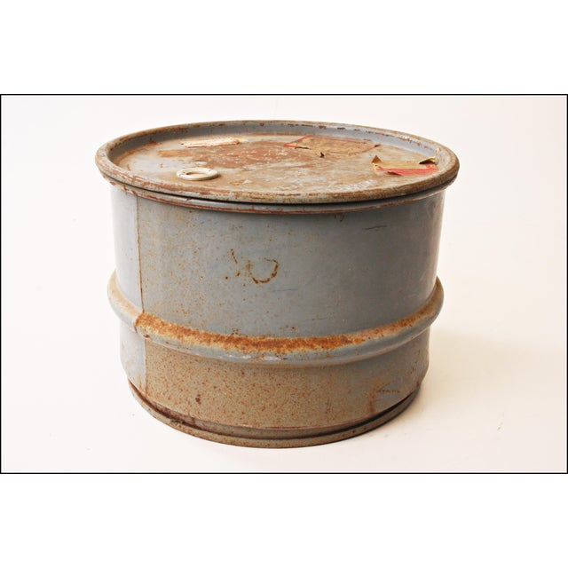 Vintage Industrial Gray Metal Barrel with Lid - Image 9 of 11