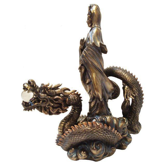 Asian Quan Yin & Dragon Statue - Image 2 of 6