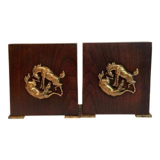 Vintage Kinswood Wood & Brass Horse Bookends - A Pair