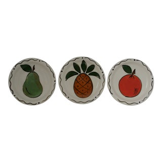 Three Rivers Studio Pottery Hand Painted Fruit Stoneware Plates - Set of 3
