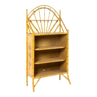 19th Century English Bamboo Bookshelf With Lovely Painted Finish