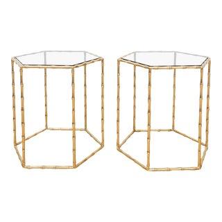 Maison Baguès Style Brass Tables - A Pair