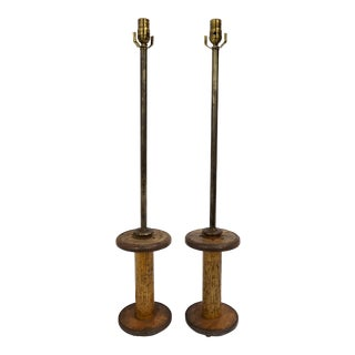 Vintage Spools Converted to Table Lamps - A Pair