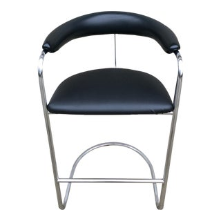 Thonet Chrome & Vinyl Bar Stool