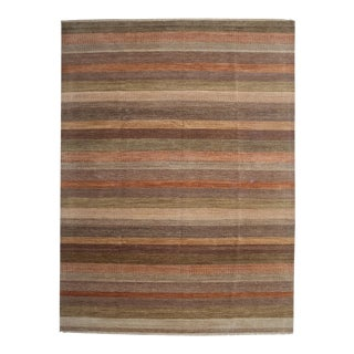 """Tonal Striped Hand Knotted Area Rug - 9'3"""" X 12'3"""""""